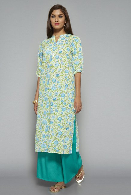 Utsa Blue Floral Printed Long Kurta