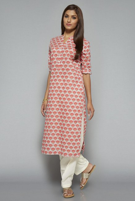 Utsa Pink Block Printed Long Kurta