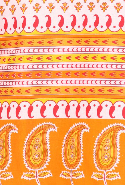 Soch Orange & White Block Print Cotton Kurta