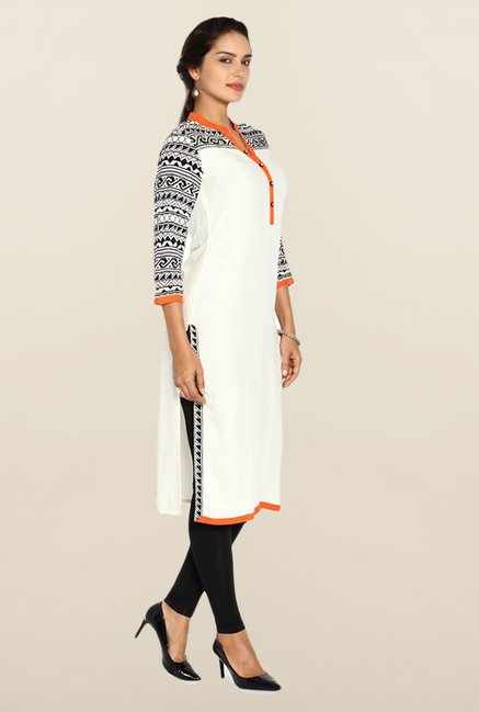 Soch Cream & Black Solid Kurta