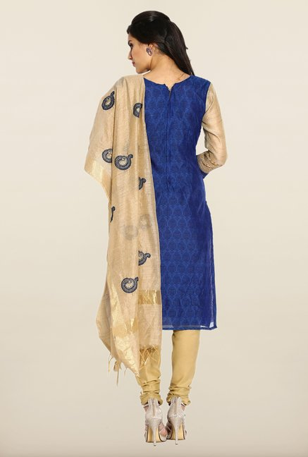 Soch Blue & Beige Block Print Dress Material