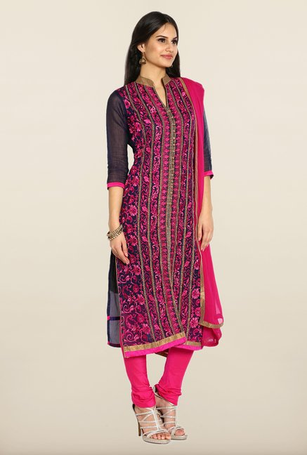 Soch Navy & Pink Embroidered Dress Material