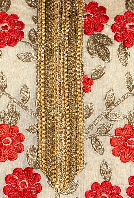 Soch Beige & Orange Embroidered Dress Material
