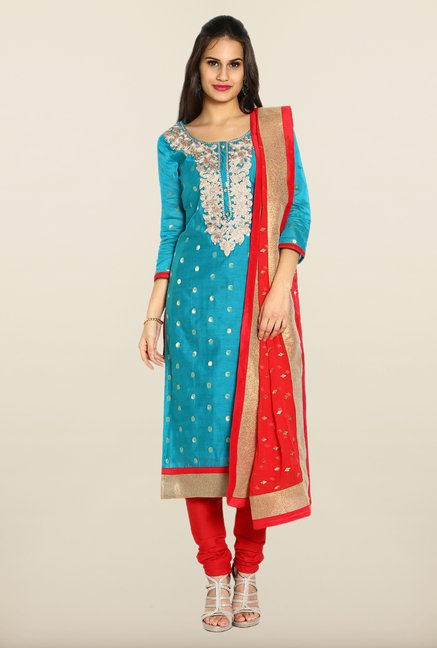 Soch Blue & Red Embroidered Dress Material