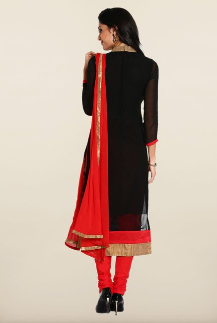 Soch Black & Red Embroidered Georgette Dress Material