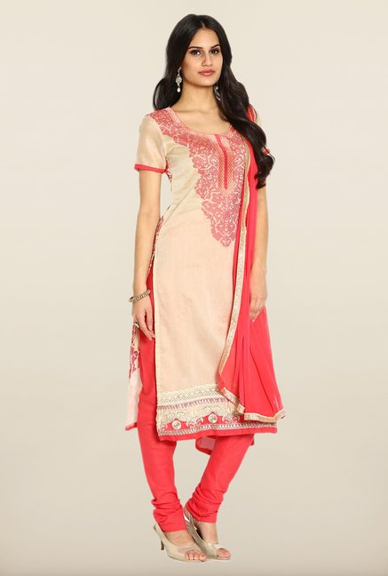 Soch Beige & Coral Chanderi Silk Dress Material