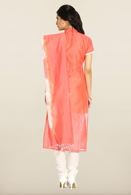 Soch Peach & White Embroidered Dress Material