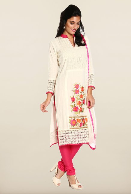 Soch Off White & Pink Embroidered Cotton Dress Material