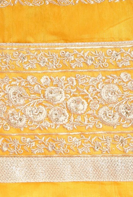 Soch Yellow & Gold Embroidered Dress Material