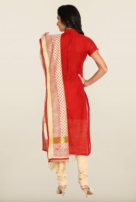 Soch Red & Cream Solid Dress Material