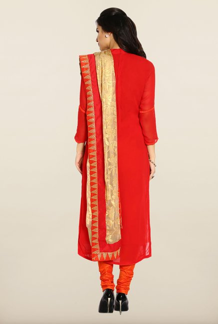 Soch Red & Orange Solid Georgette Dress Material