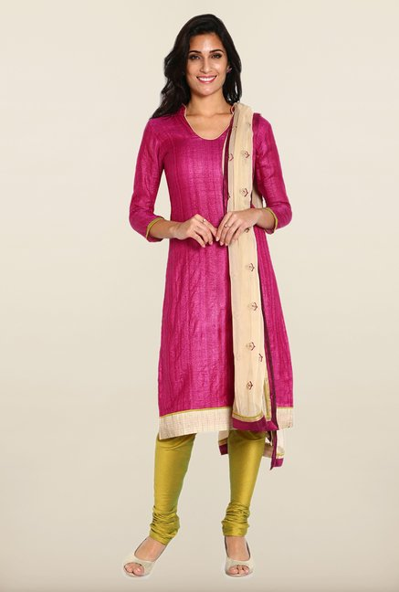 Soch Purple & Mehendi Green Solid Dress Material