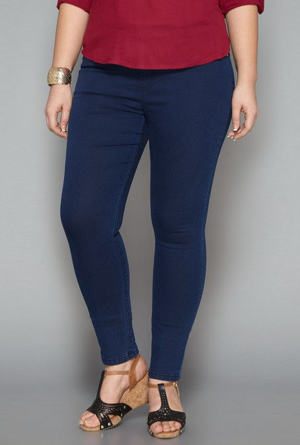 Gia Blue Solid Jeggings