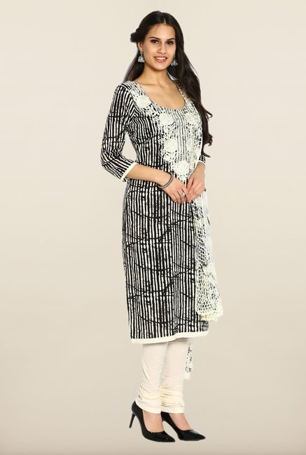 Soch Black & Off White Embroidered Cotton Dress Material