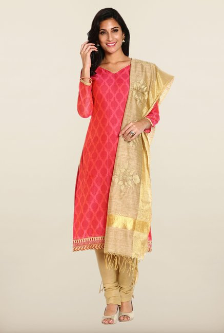 Soch Pink & Beige Block Print Dress Material