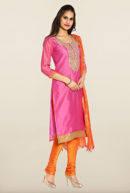 Soch Pink & Orange Embroidered Chanderi Silk Dress Material