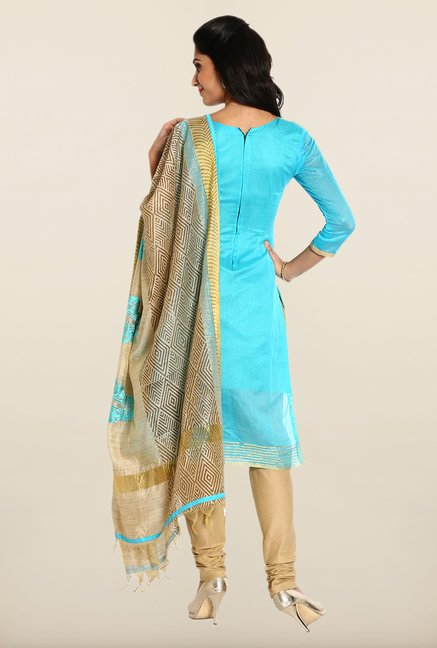 Soch Sky Blue & Beige Solid Dress Material