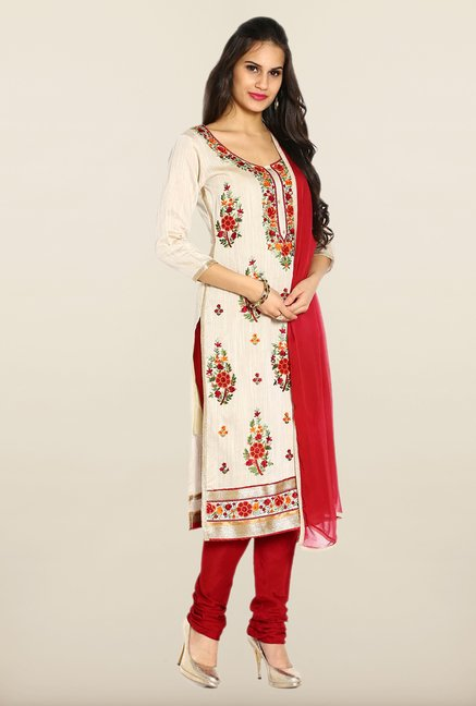 Soch Off White & Maroon Embroidered Dress Material