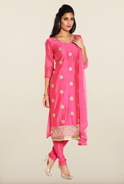 Soch Pink & Gold Embroidered Dress Material