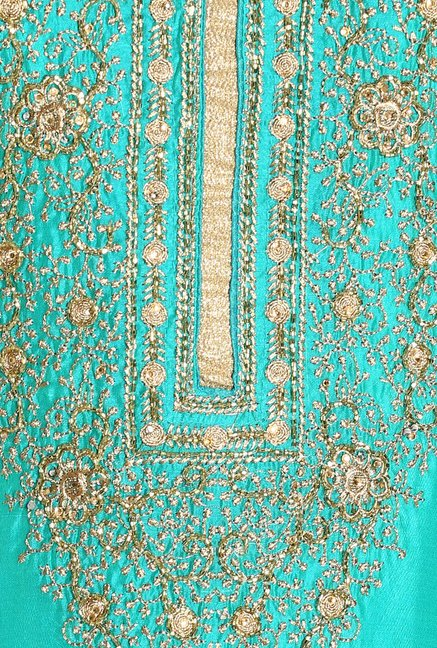 Soch Turquoise & Gold Embroidered Dress Material