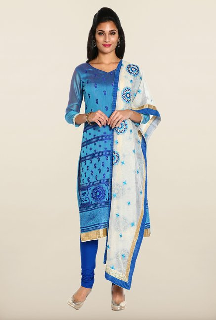 Soch Blue Embroidered Dress Material