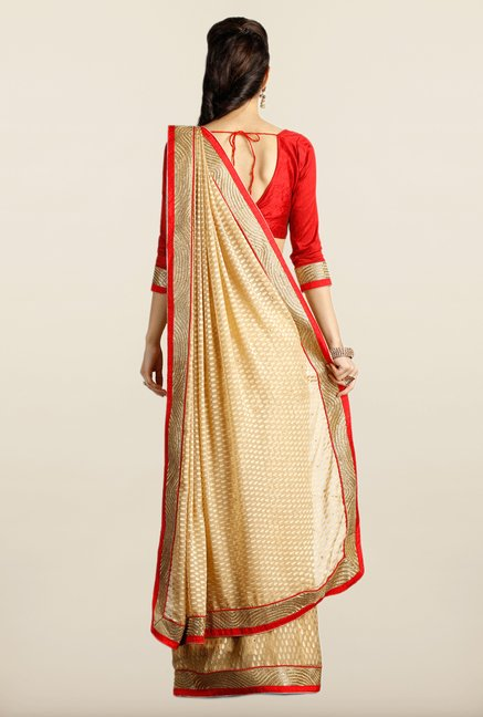 Soch Beige & Red Embroidered Saree