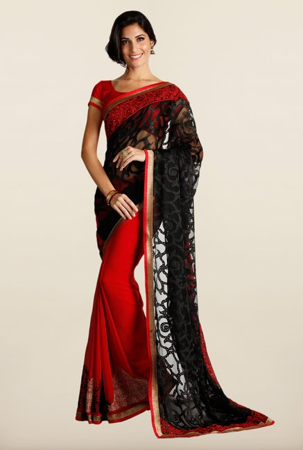 Soch Black & Red Embroidered Georgette Saree