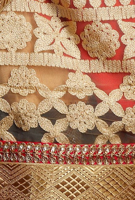 Soch Red & Beige Georgette Net Saree