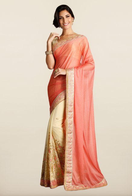 Soch Peach & Beige Embroidered Georgette Saree