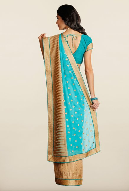Soch Teal & Beige Embroidered Chiffon Saree