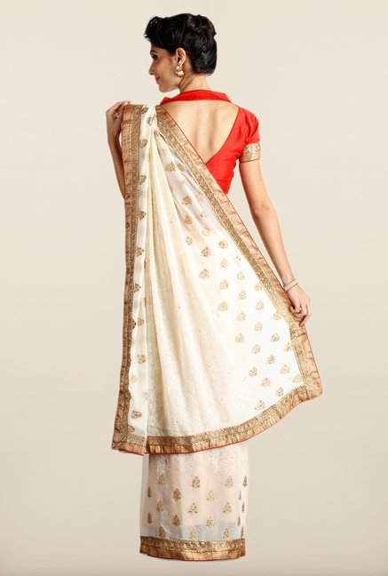 Soch Off White & Red Chiffon Saree