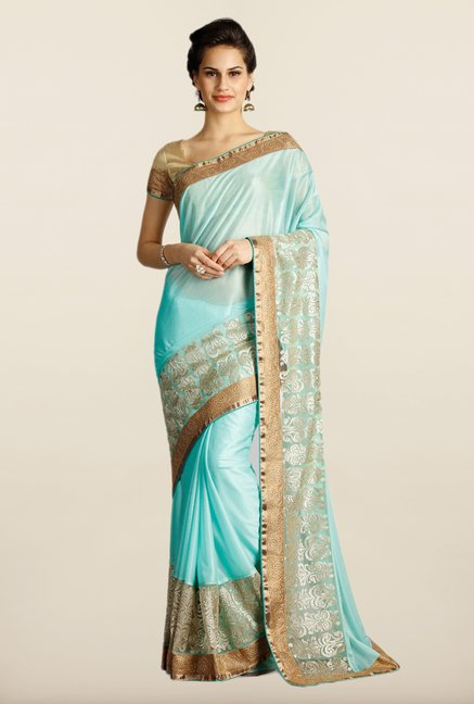 Soch Turquoise & Gold Embroidered Georgette Saree