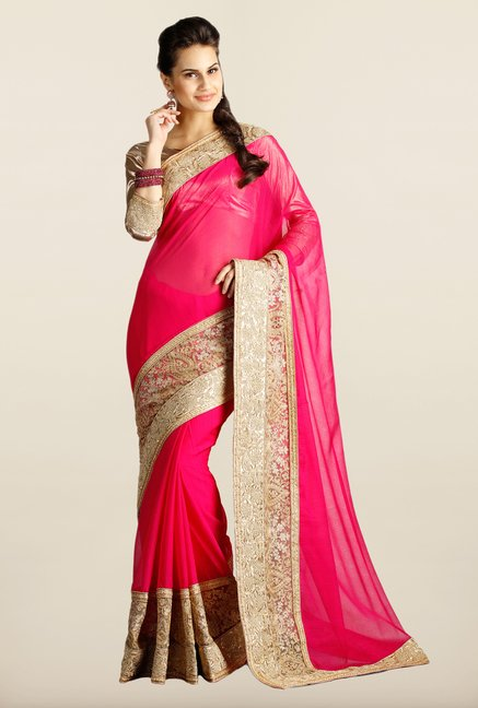 Soch Fuchsia & Beige Embroidered Net Saree