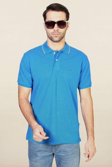 Allen Solly Blue Solid Polo T-Shirt