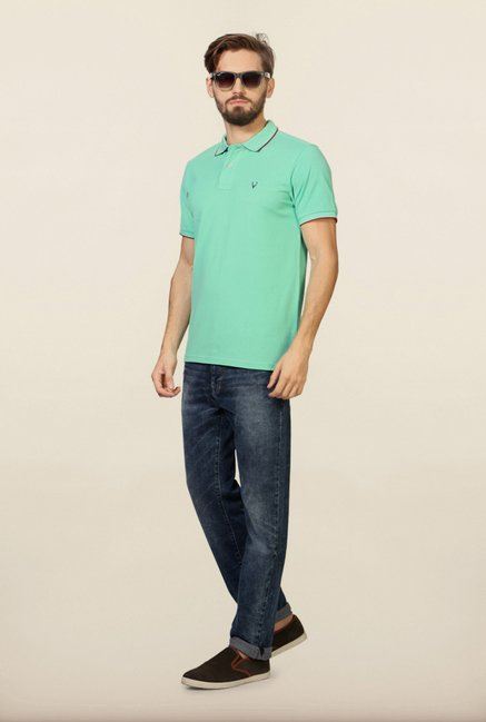 Allen Solly Turquoise Solid Polo T-Shirt