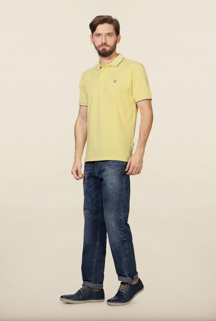 Allen Solly Yellow Solid Polo T-Shirt