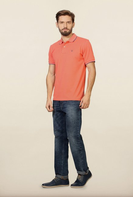 Allen Solly Peach Solid Polo T-Shirt