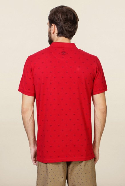 Allen Solly Red Printed Polo T-Shirt