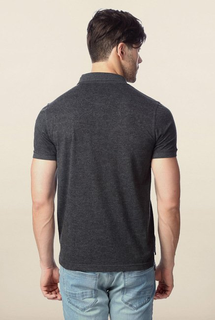Peter England Dark Grey Solid Polo T-Shirt