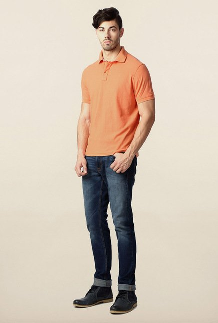 Peter England Coral Solid Polo T-Shirt