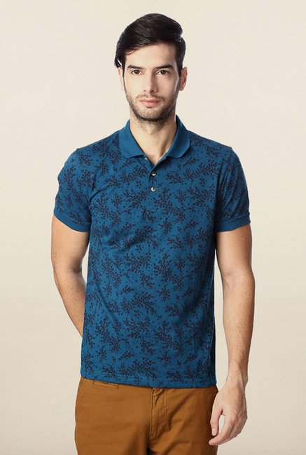 Peter England Blue Floral Printed Polo T-Shirt