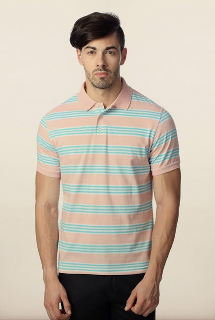 Peter England Peach & Blue Striped Polo T-Shirt