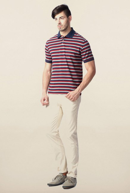 Peter England Maroon & Grey Striped Polo T-Shirt