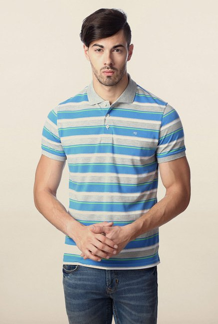 Peter England Blue & Grey Striped Polo T-Shirt