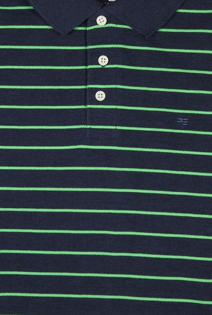 Peter England Navy & Green Striped Polo T-Shirt