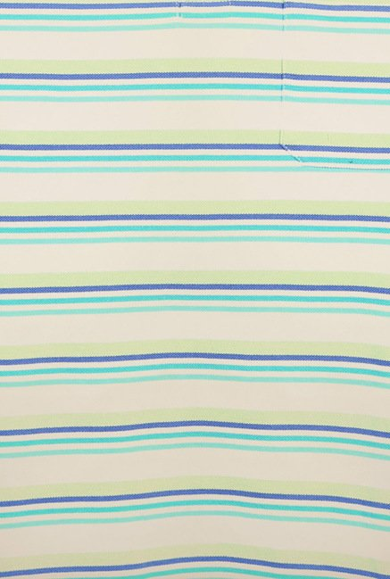 Peter England Blue & Green Striped Polo T-Shirt