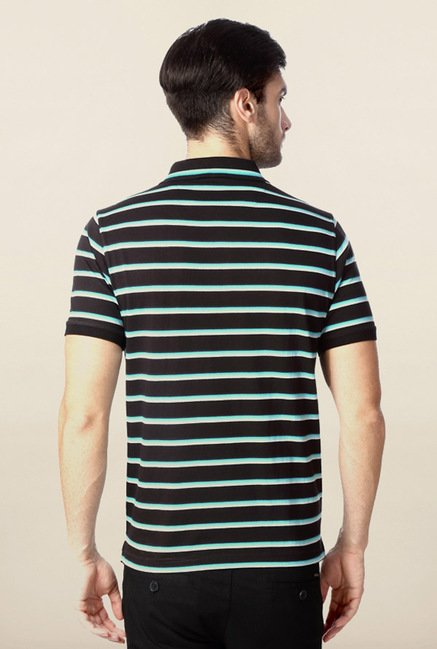 Peter England Black Striped Polo T-Shirt