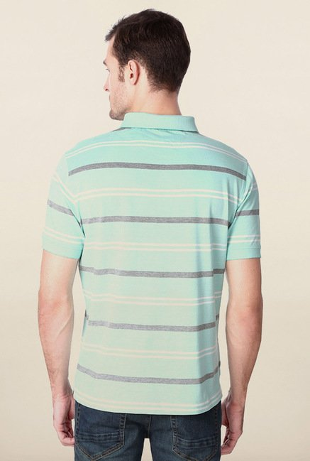 Peter England Turquoise Striped Polo T-Shirt