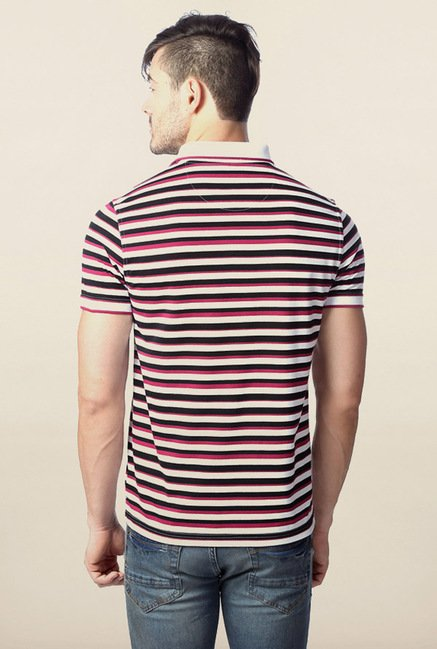Peter England White & Black Striped Polo T-Shirt