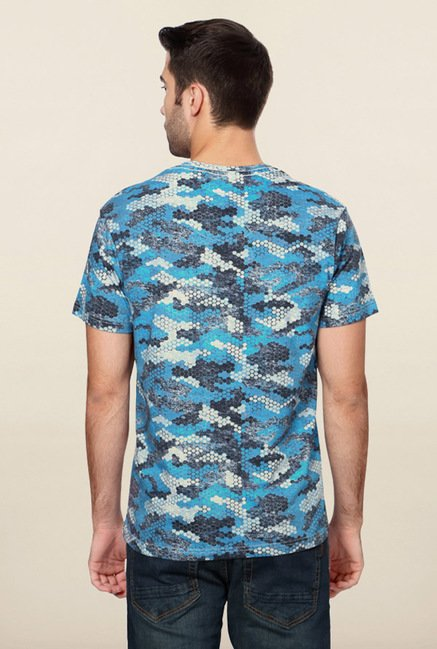 Peter England Blue Camo Print V Neck T-Shirt